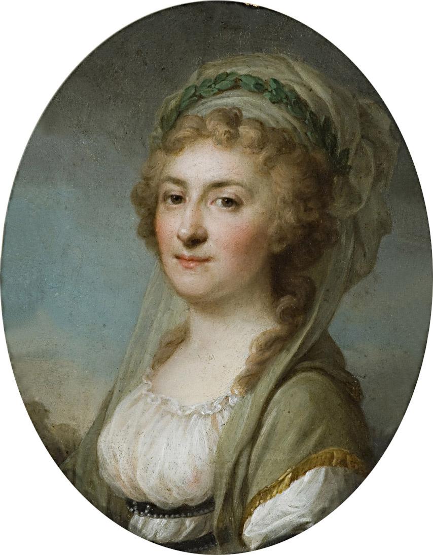 Vladimir Borovikovsky. Portrait of an unknown woman in a green wreath
