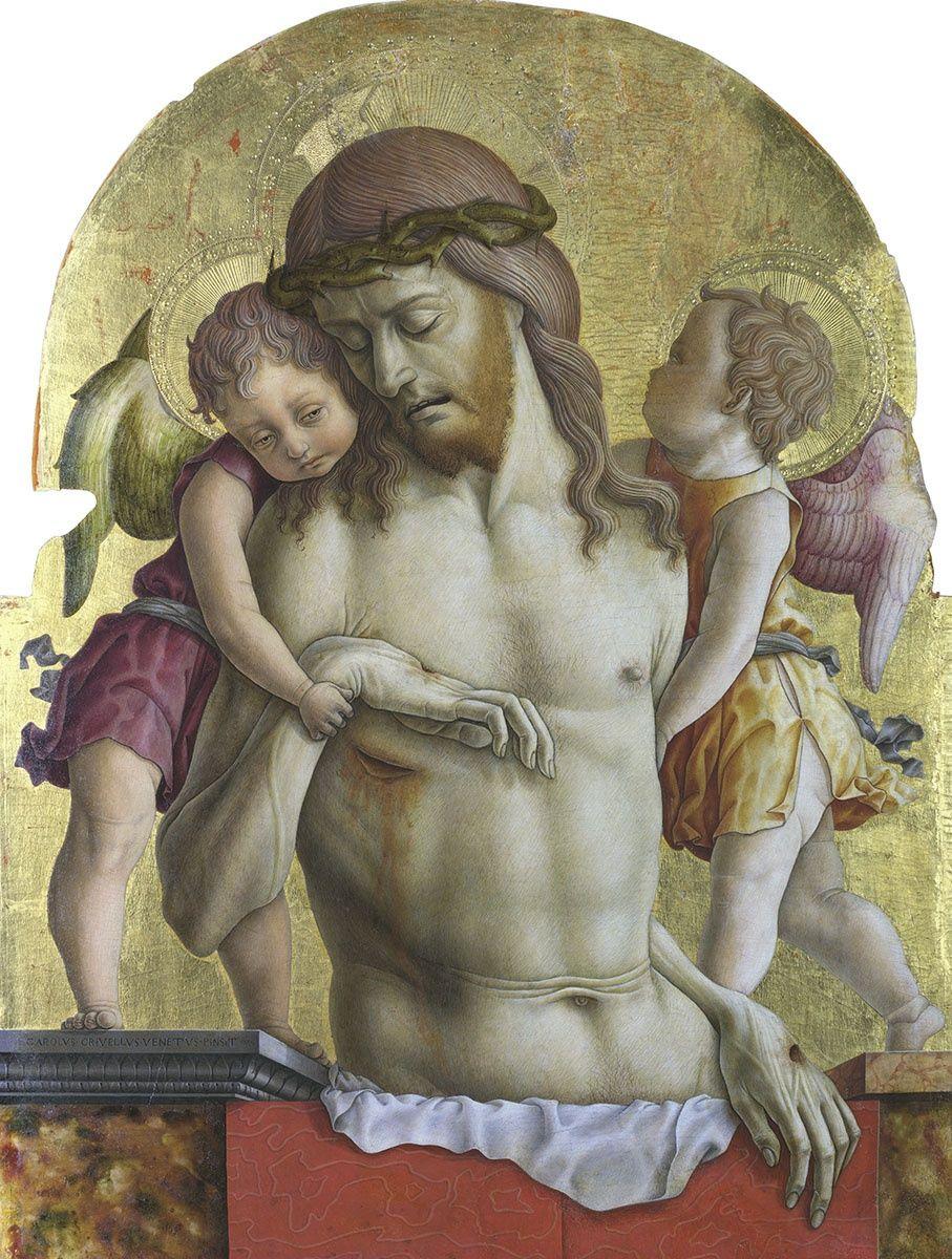 Карло Кривелли. Христос, поддерживаемый двумя ангелами. Алтарный полиптих церкви Сан Франческо в Монтефиоре дель Ассо, навершие центральной части