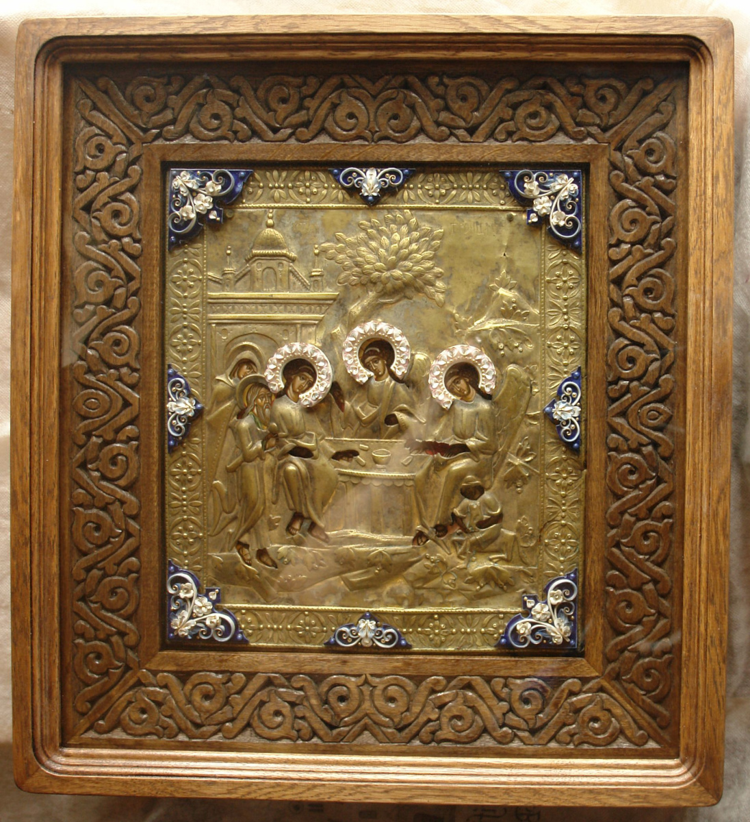 Moscow Icon Painting Workshop. The most Holy Trinity in the salary of the 19th century with porcelain inserts