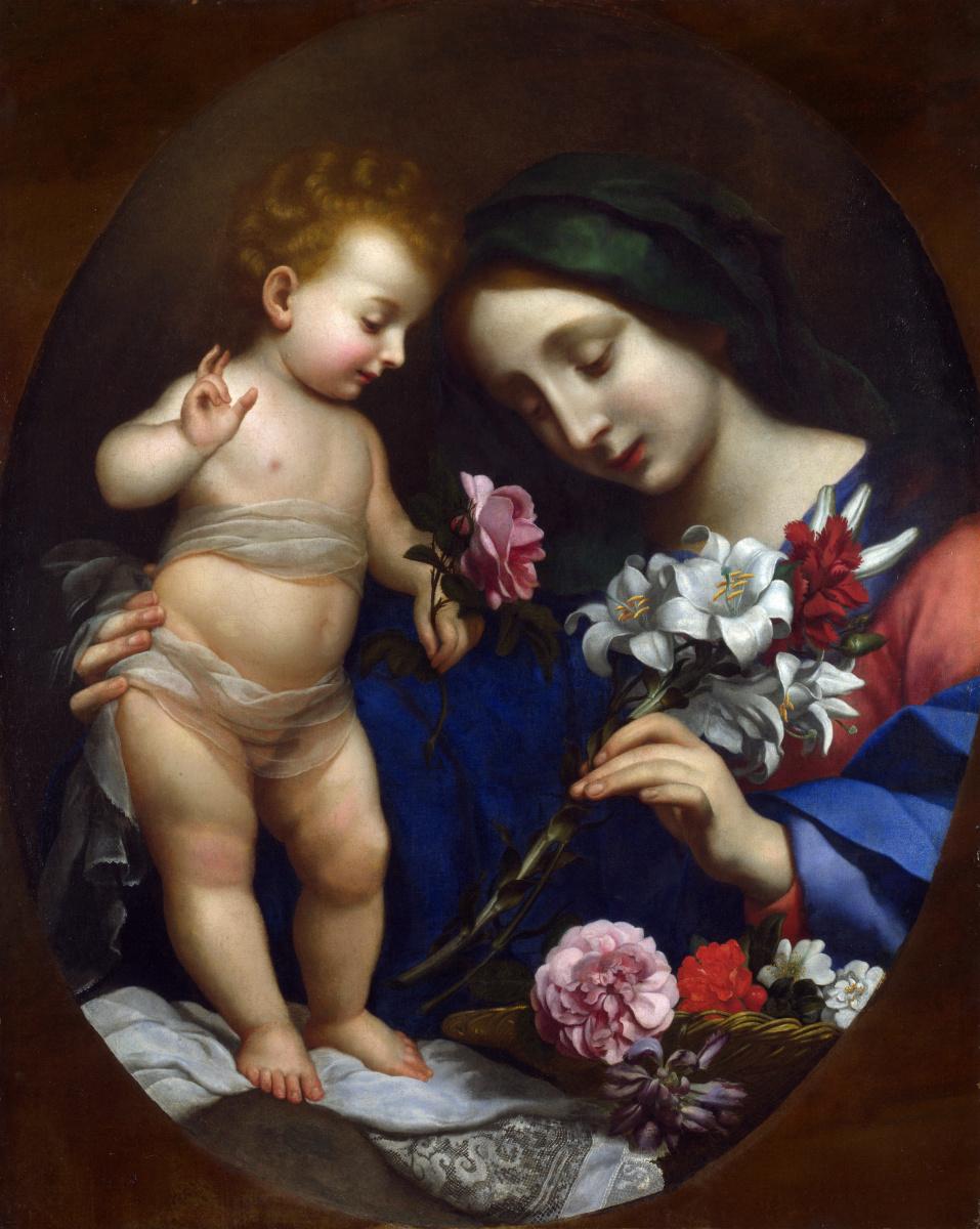 Карло Дольчи После. Дева с младенцем и цветы