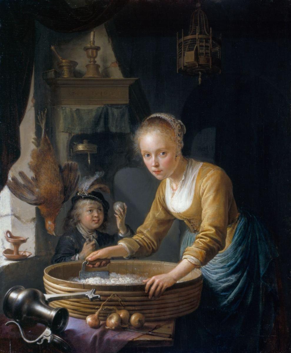 Gerrit (Gerard) Dow. Girl cutting onions