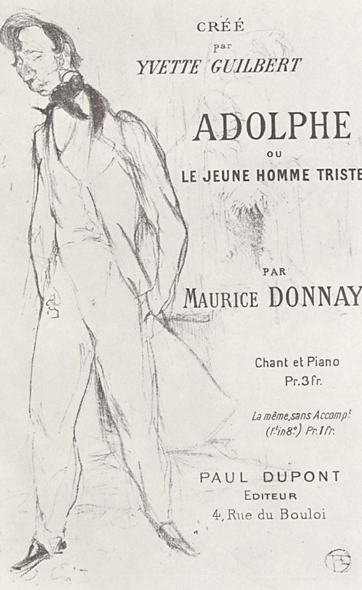 """Анри де Тулуз-Лотрек. Плакат """"Адольф, или Печальный юноша"""" Мориса Донне"""