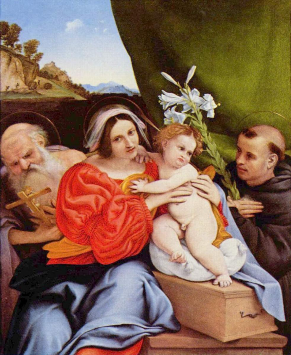 Лоренцо Лотто. Мадонна со свв. Иеронимом и Антонием Падуанским