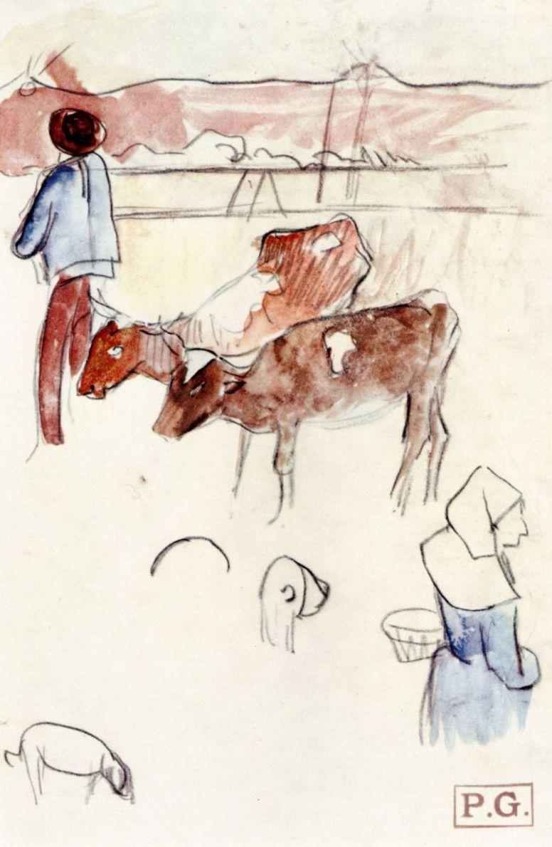 Поль Гоген. Бретонские крестьяне с коровами и собаками