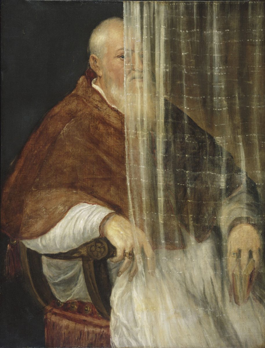 Тициан Вечеллио. Портрет архиепископа Филиппо Аркинто (за занавеской)