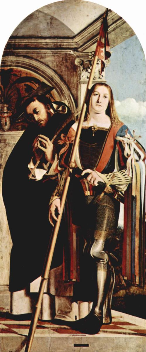 Лоренцо Лотто. Алтарный полиптих Реканати, правая створка. Св. Петр Мартир и св. Вит
