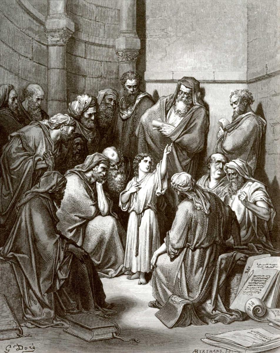 Поль Гюстав Доре. Иллюстрация к Библии: Отрок Иисус в храме