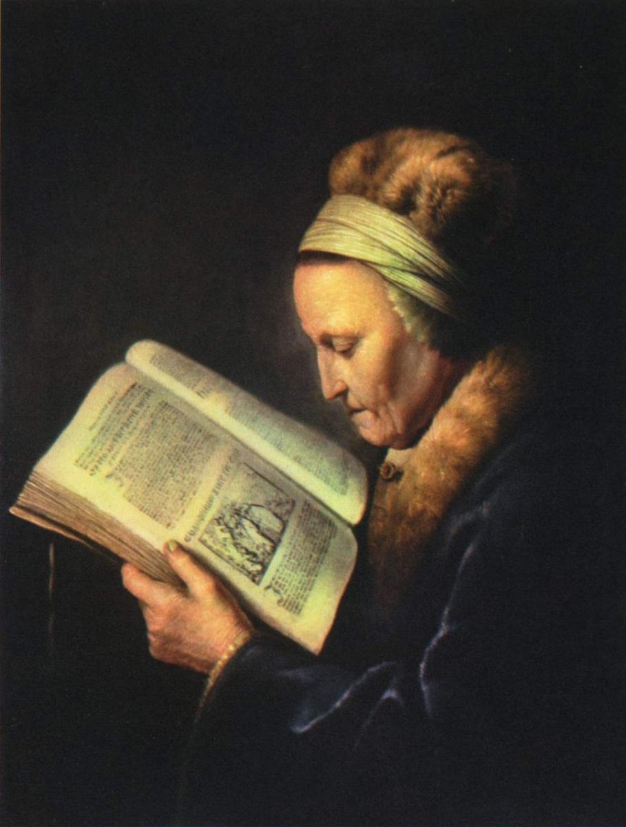 Герард Доу. Пожилая женщина за чтением. Портрет матери Рембрандта