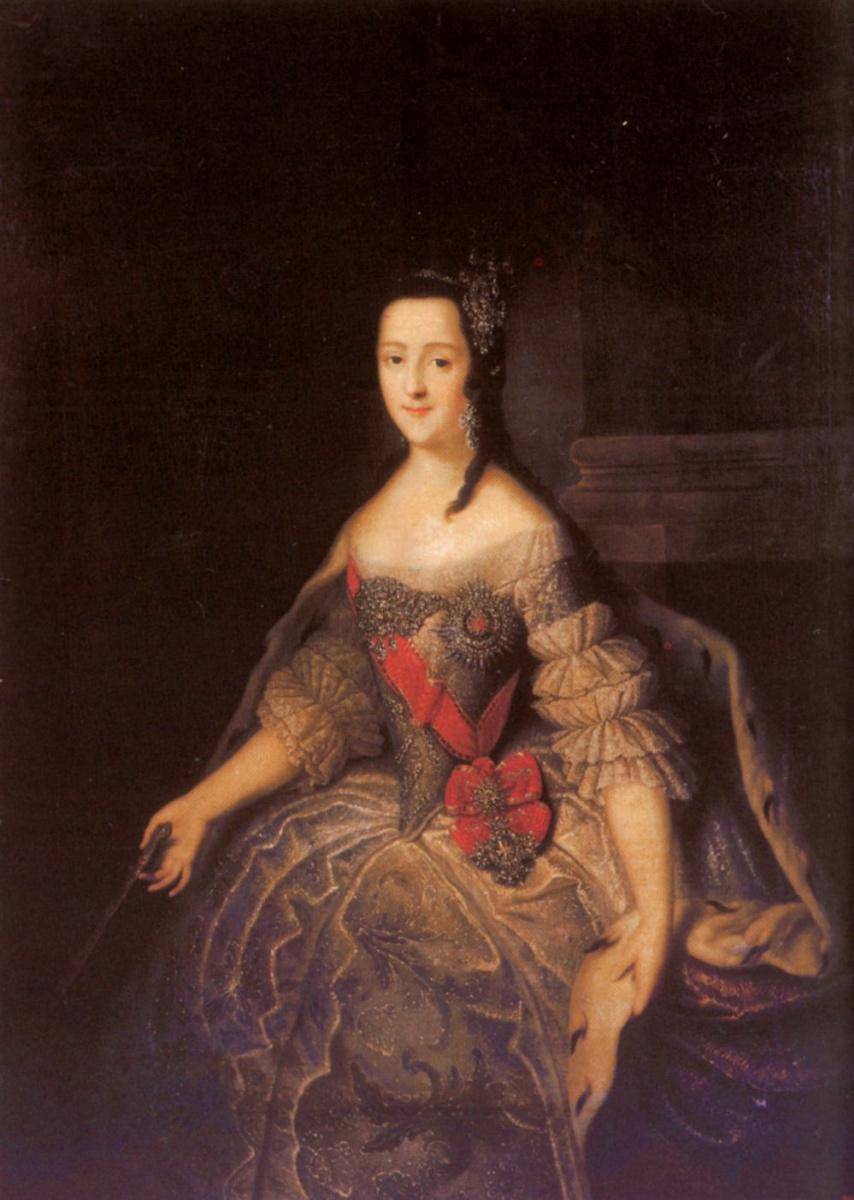 Георг-Христофор Гроот. Портрет великой княгини Екатерины Алексеевны с веером в руках