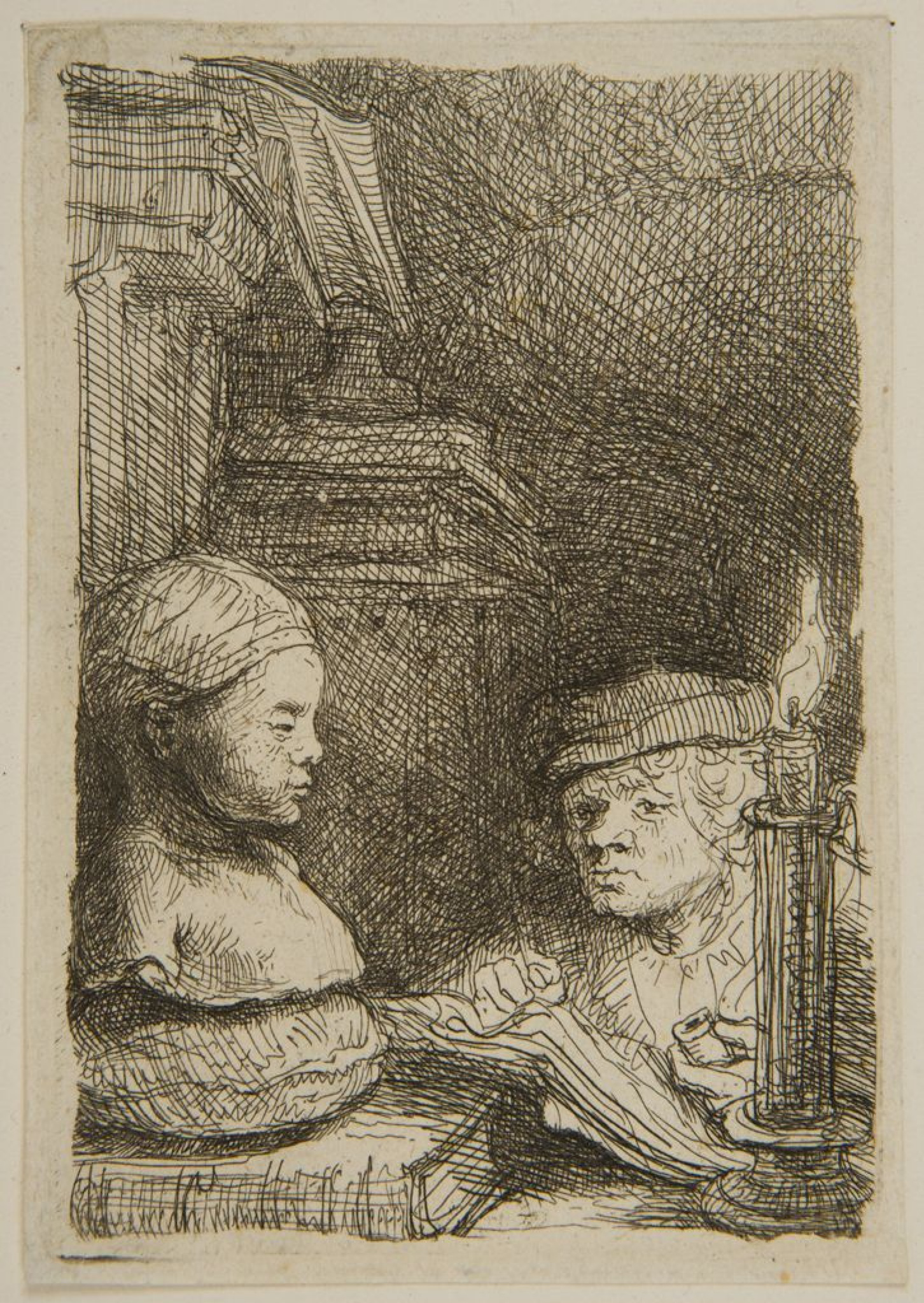 Рембрандт Харменс ван Рейн. Человек, рисующий гипсовую модель при свече