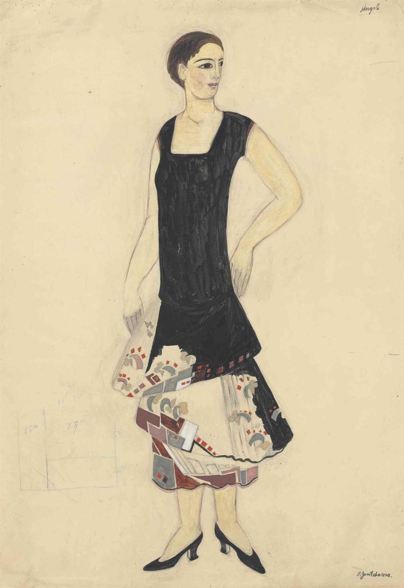 """Natalia Goncharova. Sketch dresses for fashion houses """"Mirror"""""""