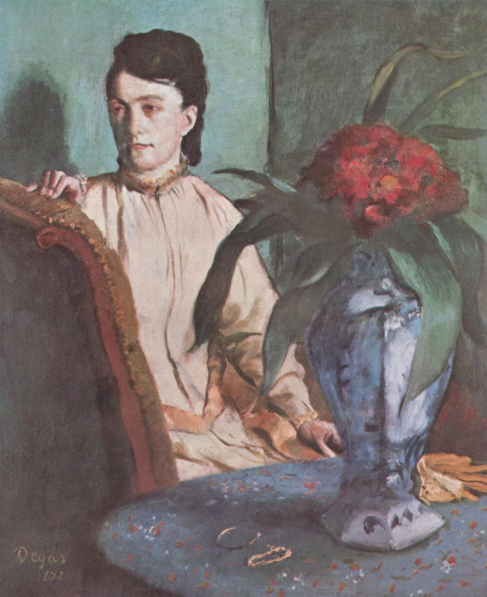 Эдгар Дега. Сидящая женщина с вазой