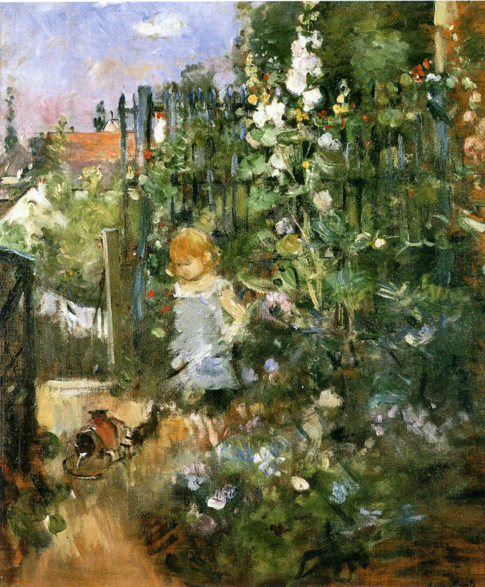 Берта Моризо. Ребенок в саду с розами