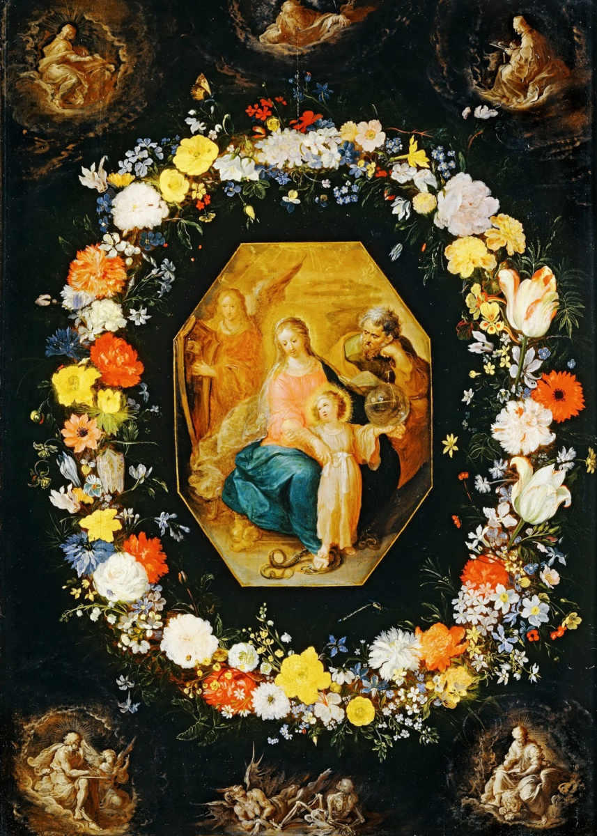 Frans Franken the Younger. Holy family in a garland of flowers. (With Jan Bruegel of St) About 1620