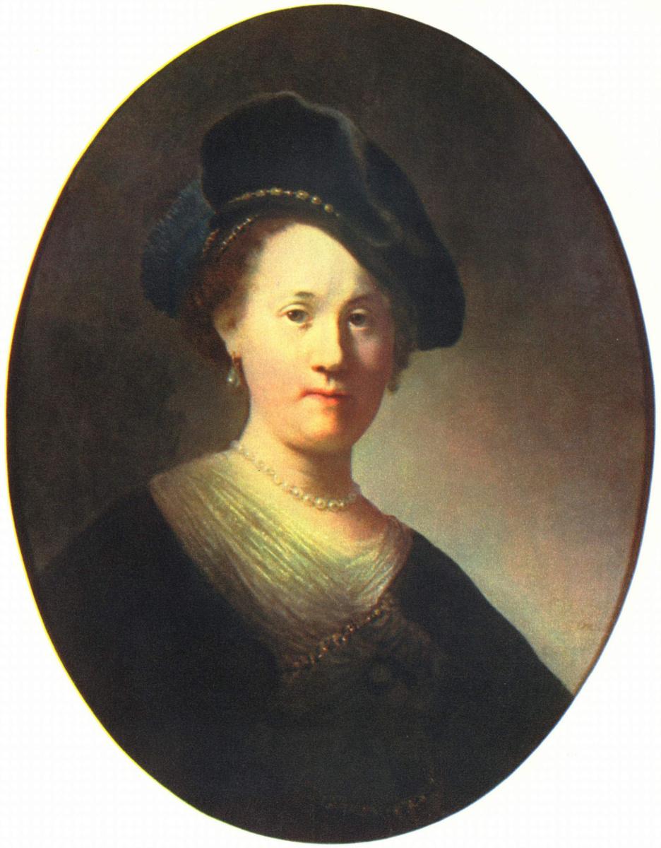 Рембрандт Ван Рейн. Портрет молодой женщины с жемчужинами в берете