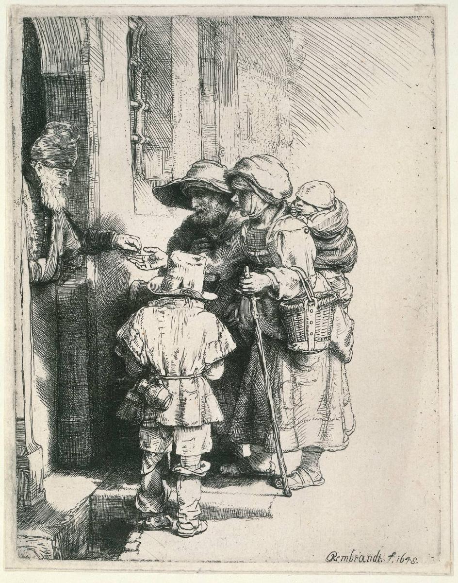 Рембрандт Ван Рейн. Нищие у дверей