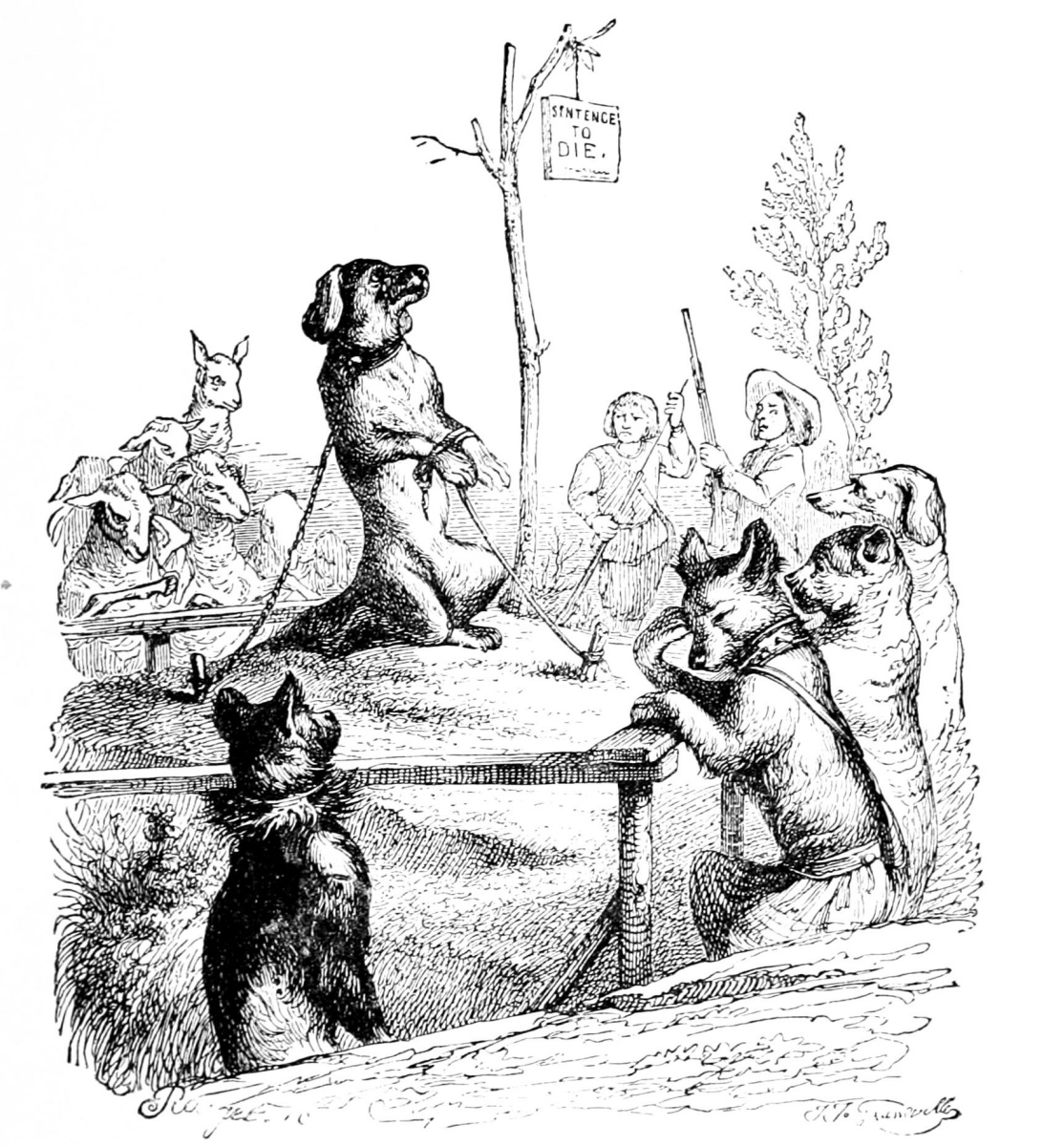 Жан Иньяс Изидор (Жерар) Гранвиль. Собачье преступление. Иллюстрации к басням Флориана