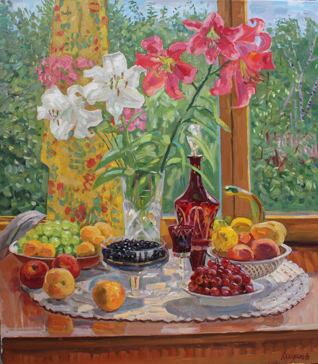 Eugene Alexandrovich Kazantsev. Натюрморт Лилии,виноград,черная смородина.