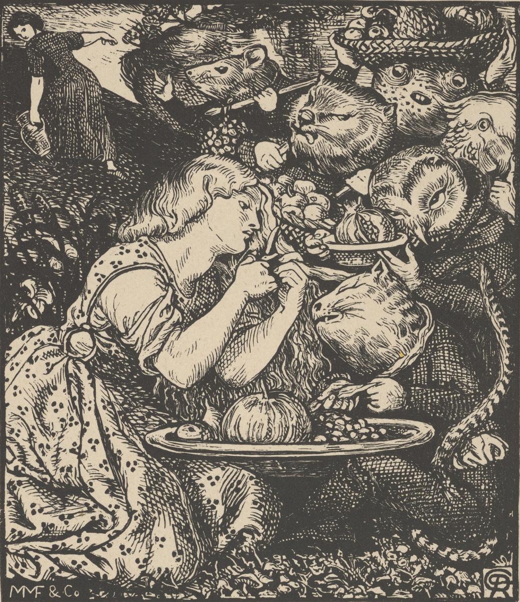 """Данте Габриэль Россетти. Купите за золотой локон. Иллюстрация для книги """"Рынок гоблинов и другие поэмы"""" Кристины Россетти"""
