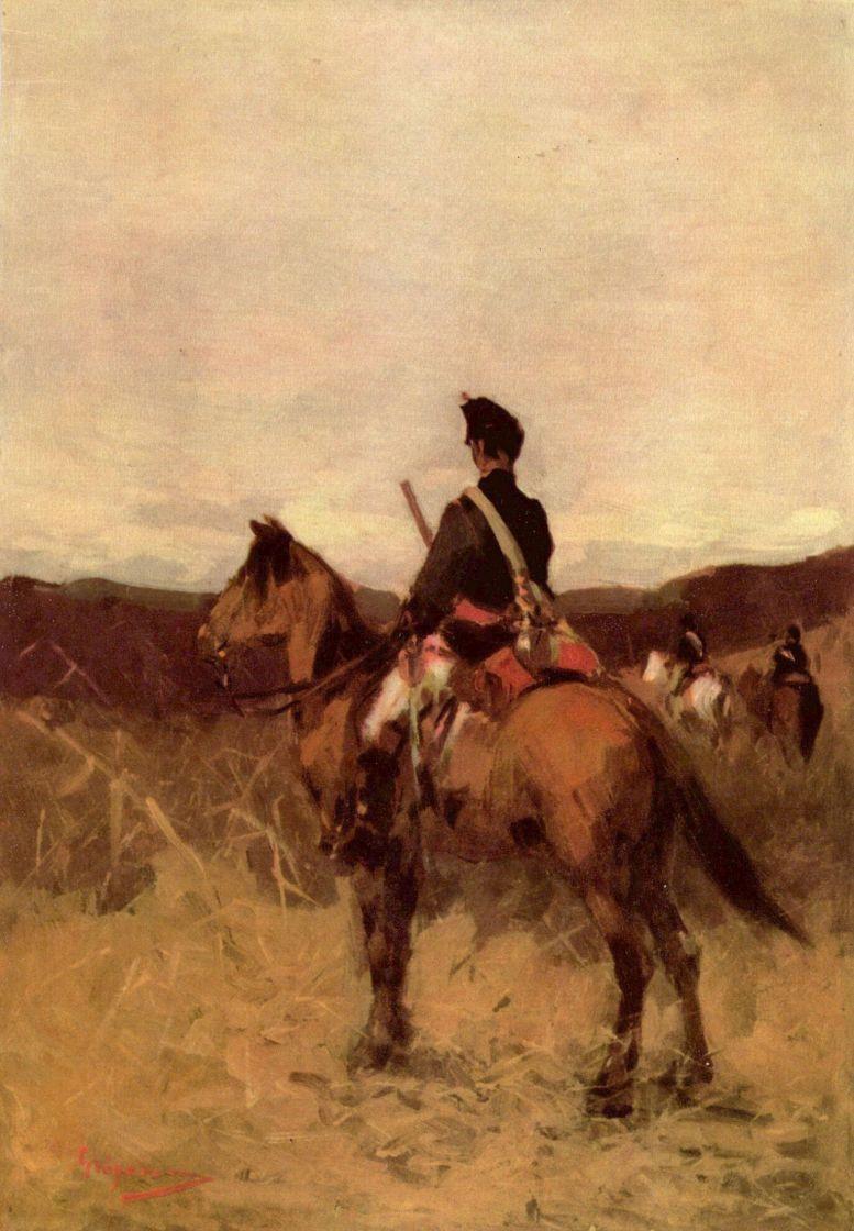 Николае Григореску. Красный гусар на коне