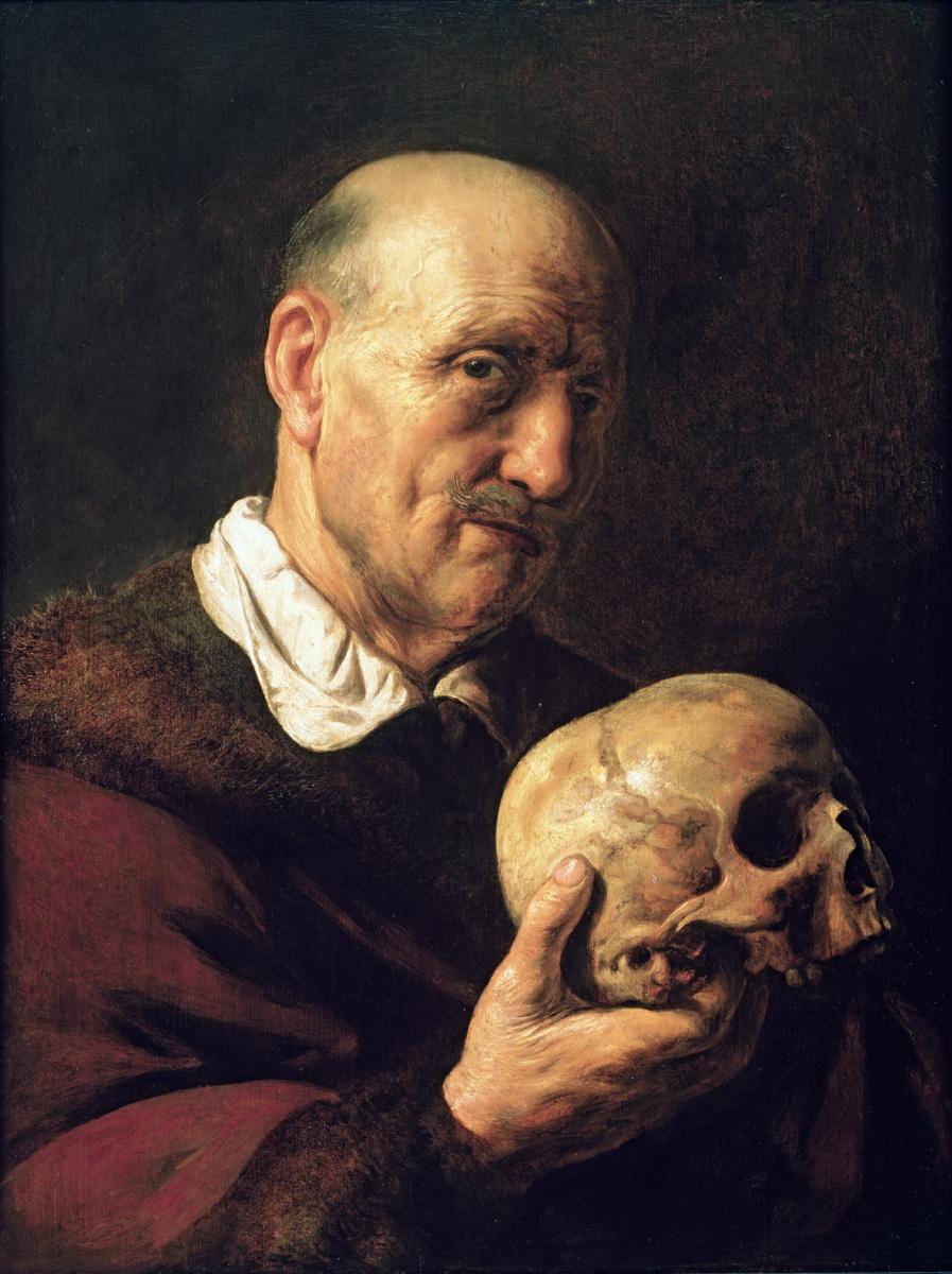 Ян Ливенс. Ванитас. Пожилой мужчина с черепом