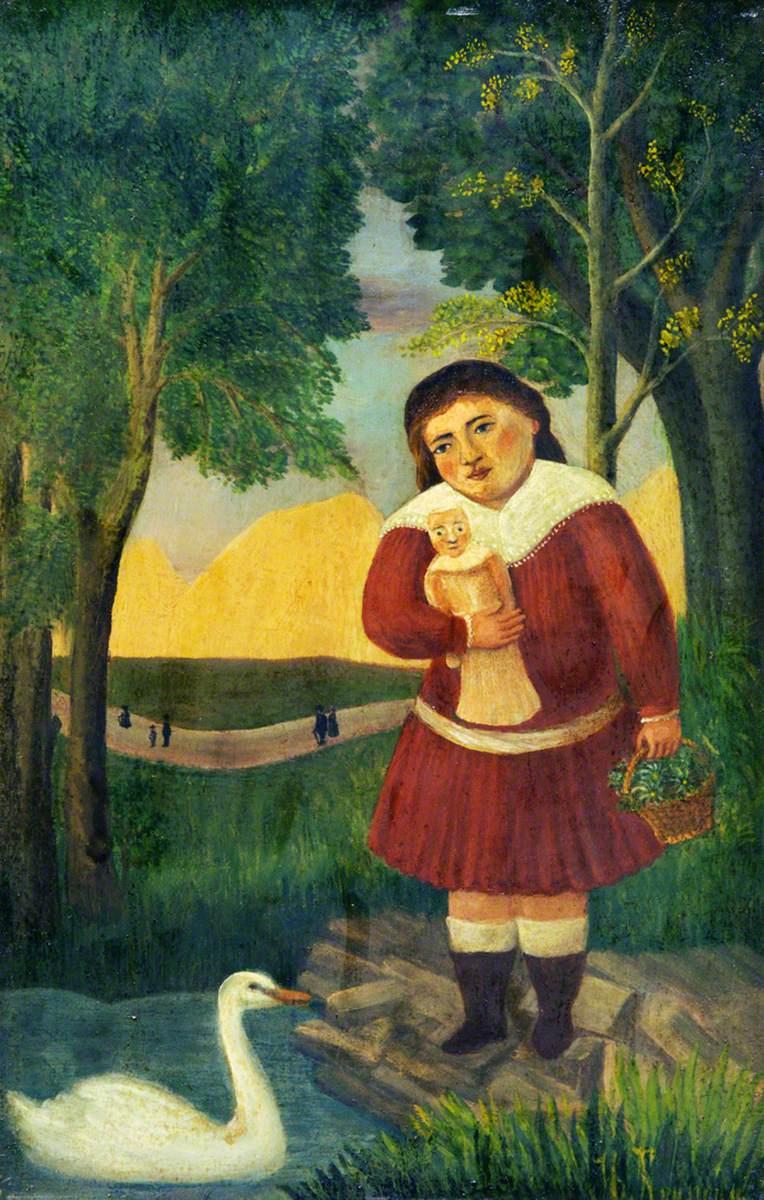 Анри Руссо. Девочка с куклой в ландшафте