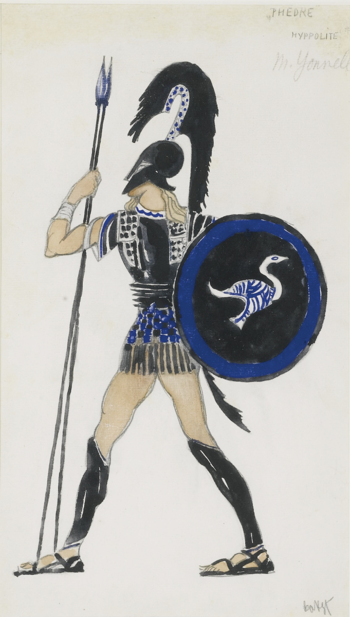 "Lev Samoilovich Bakst (Leon Bakst). Hippolyte. Costume design in the tragedy of ""Phaedra"""