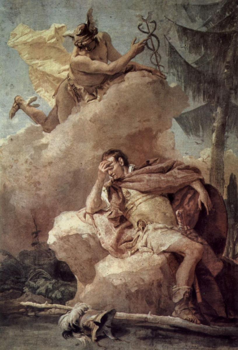 Джованни Баттиста Тьеполо. Меркурий является Энею во сне и призывает его покинуть Карфаген. Фрески из виллы Валлмарана, Виченца