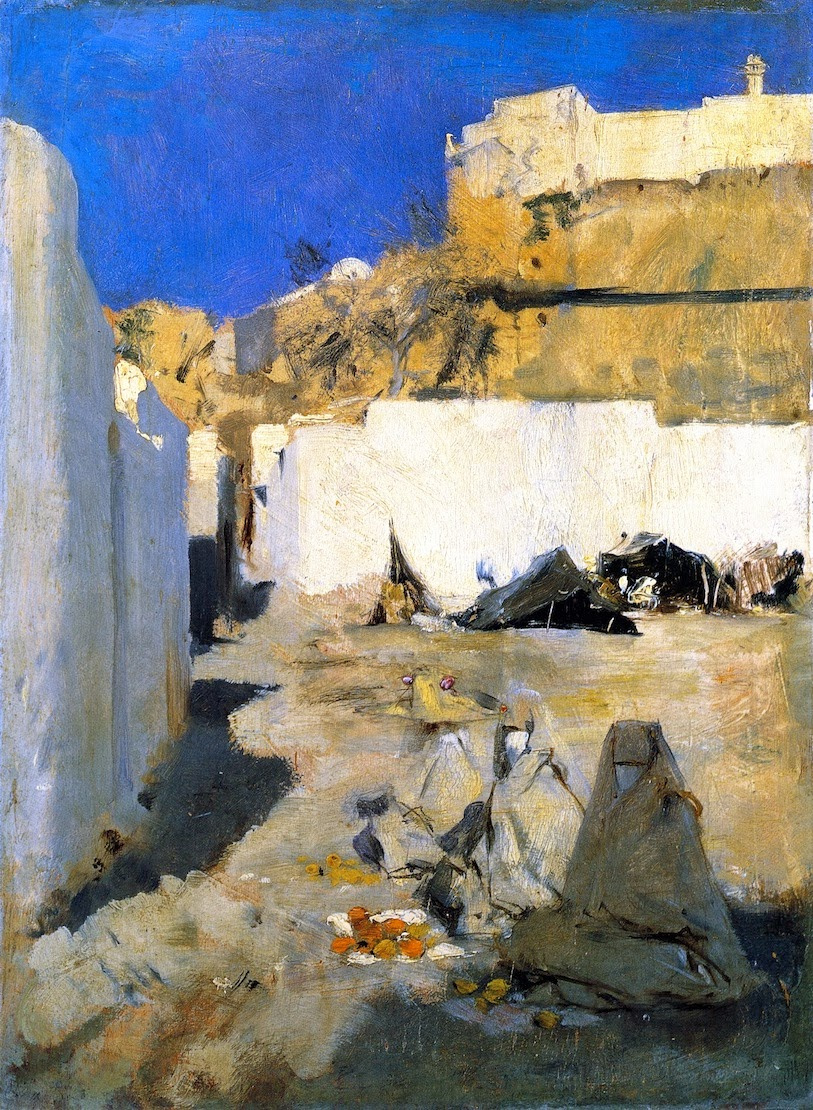 John Singer Sargent. Three Moroccan women in the background of the fortress (Beduine)