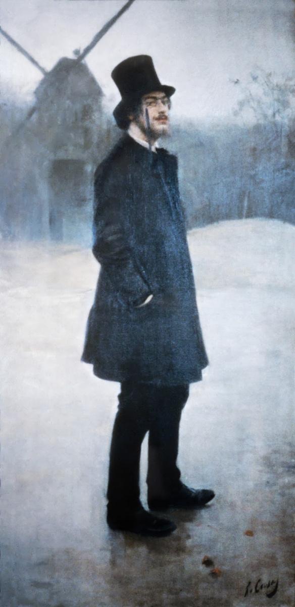 """Рамон Касас Карбо. Портрет Энрика Сати на фоне """"Мулен де ла Галетт, Монмартр"""