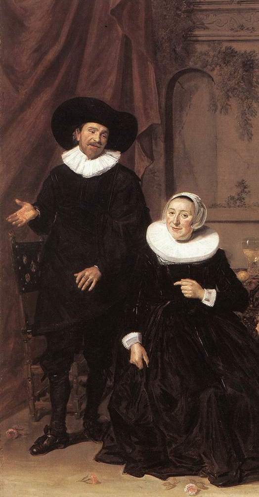 Frans Hals. Portrait of a Dutch family. Fragment. Married couple in the interior