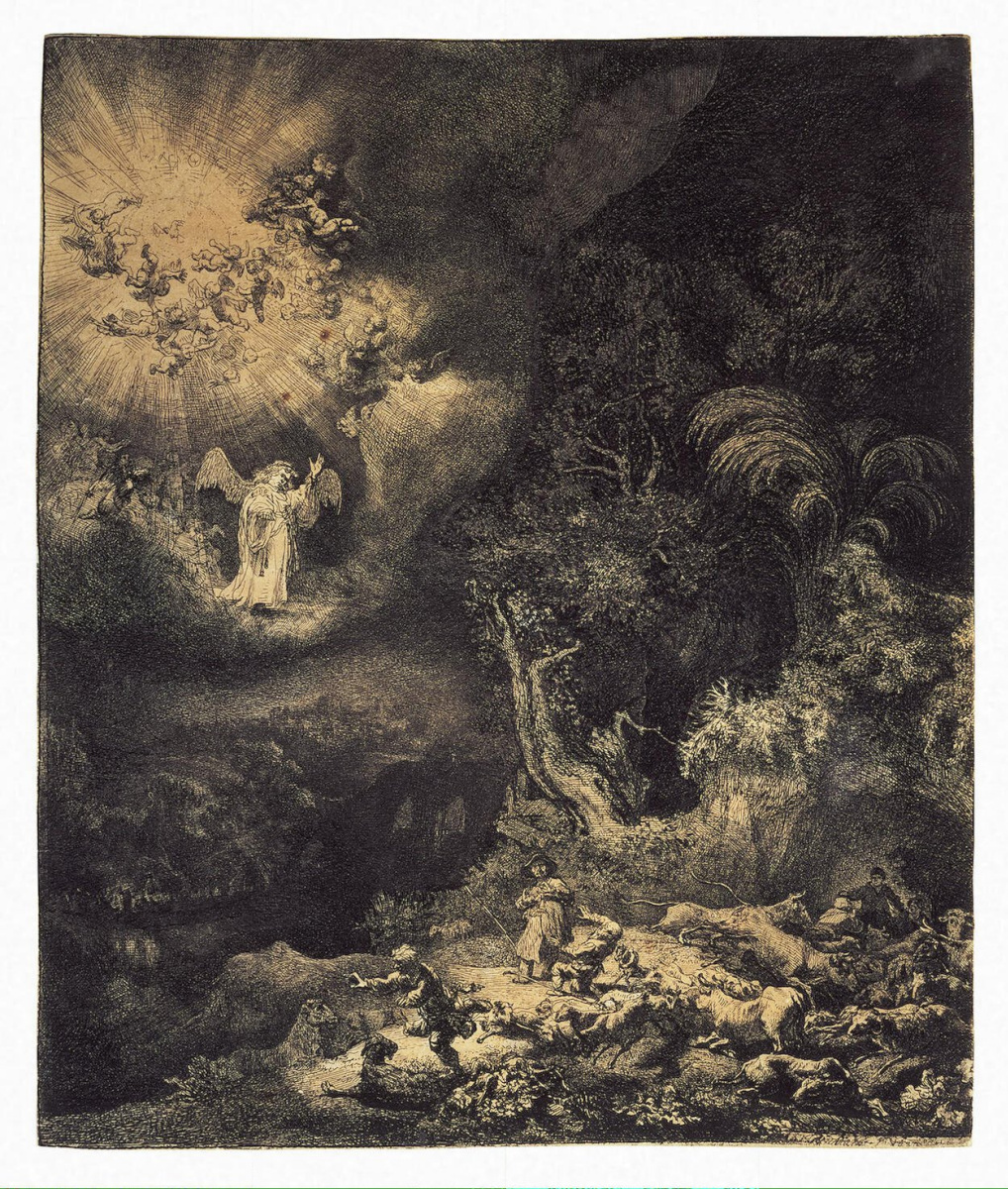 Rembrandt Harmenszoon van Rijn. The angel appears to the shepherds