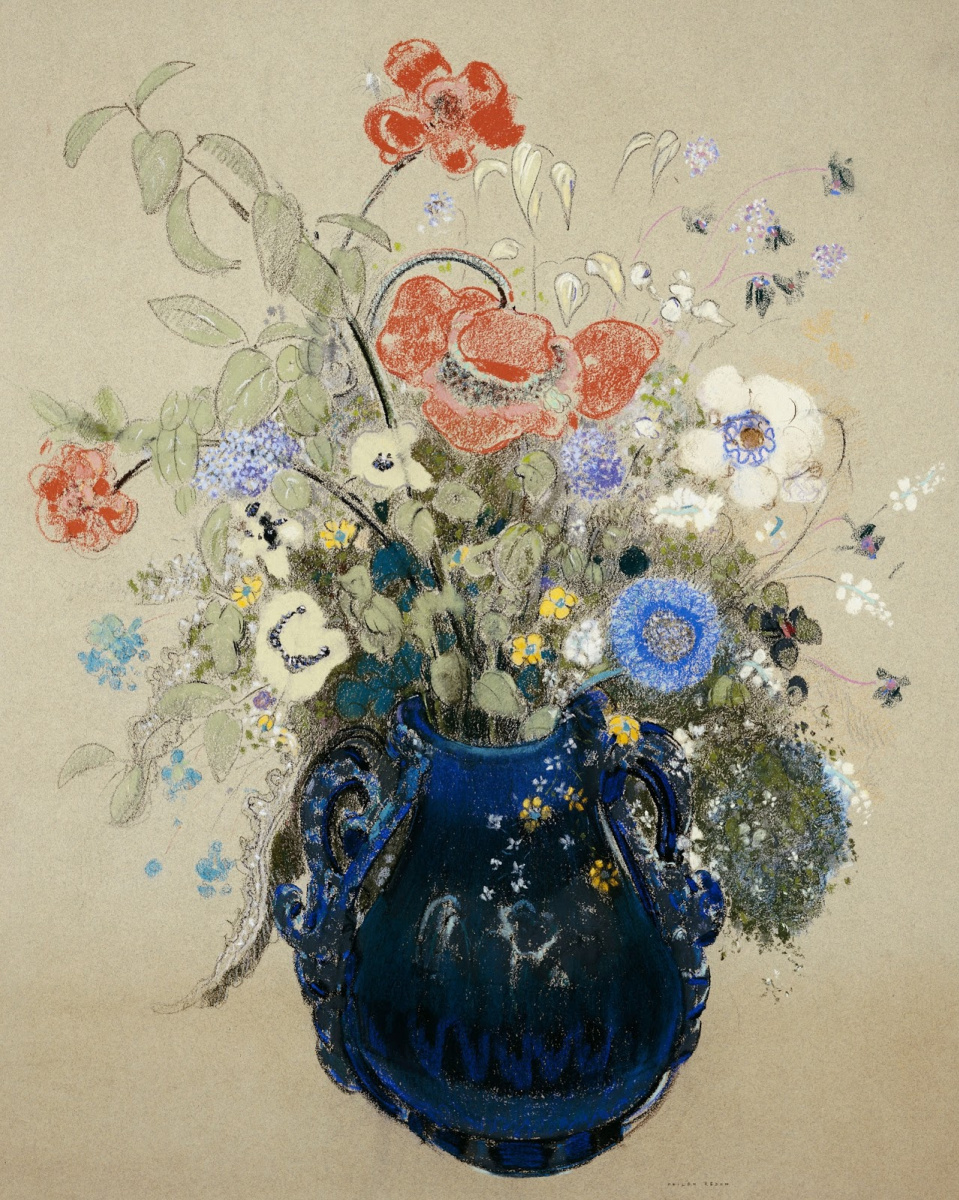 Одилон Редон. Цветы в синей вазе