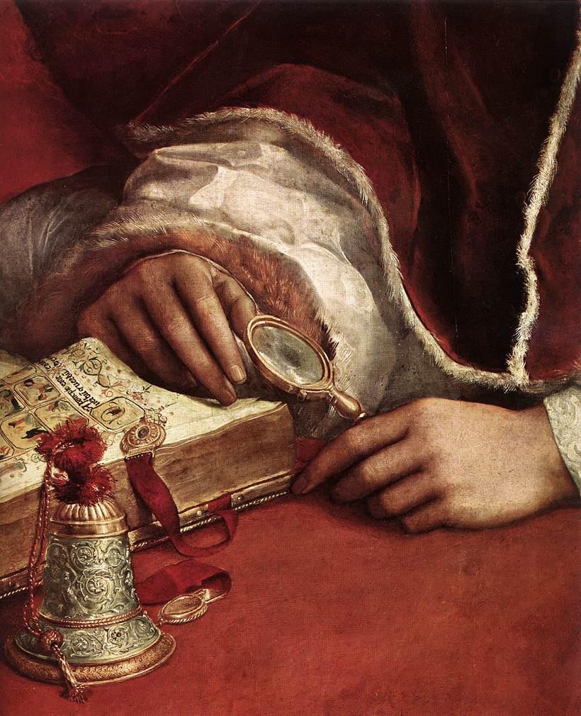 Рафаэль Санти. Папа Лев X с кардиналами Джулио Медичи и Луиджи де Росси. Фрагмент2