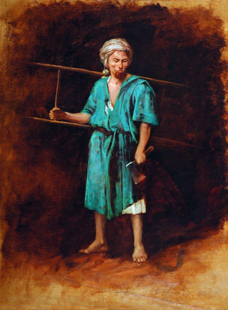"""Михай Либ Мункачи. Портрет мужчины с топором и лестницей. Эскиз для изображения палача в картине """"Голгофа"""""""