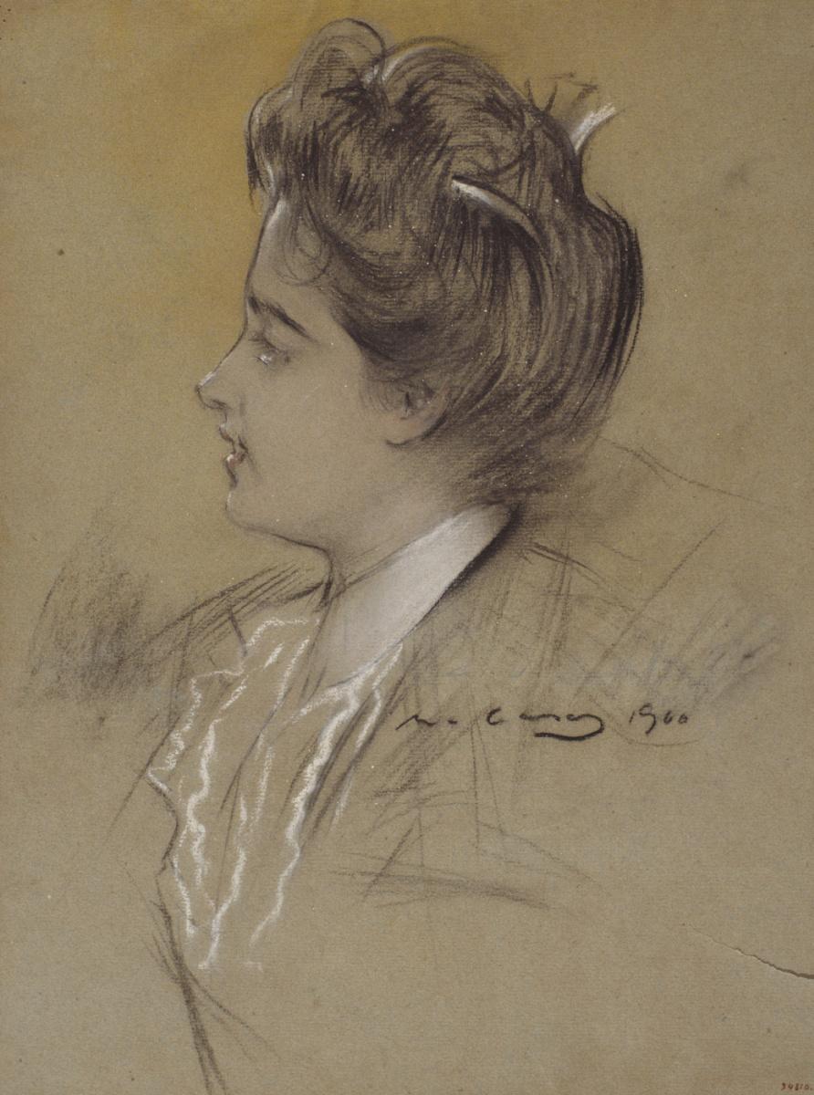 Рамон Касас Карбо. Портрет молодой женщины в профиль