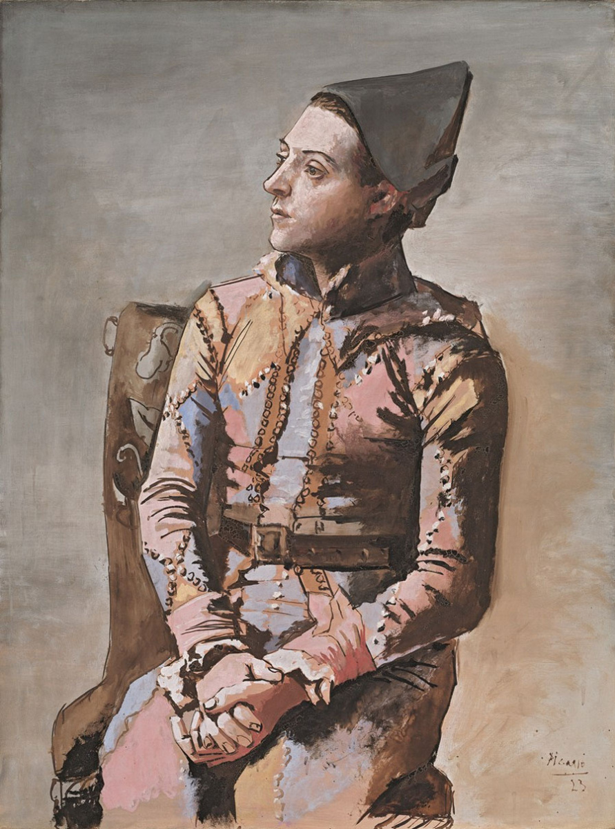Пабло Пикассо. Сидящий Арлекин
