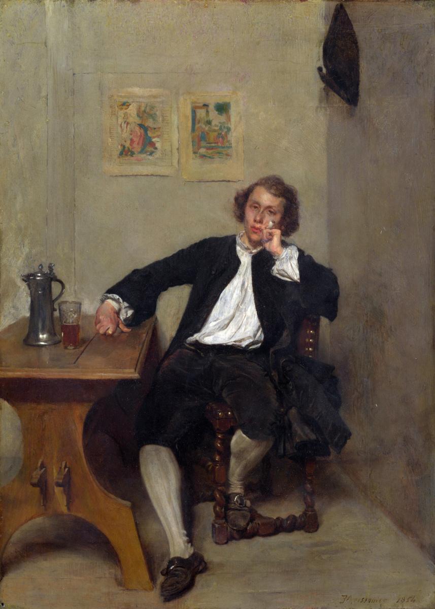 Жан-Луи-Эрнест Месонье. Мужчина в черном курит трубку