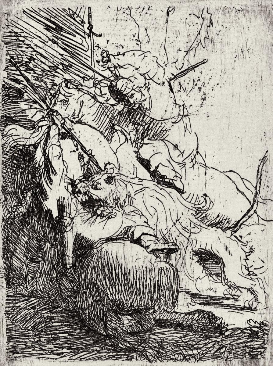 Рембрандт Харменс ван Рейн. Охота на львов с двумя всадниками