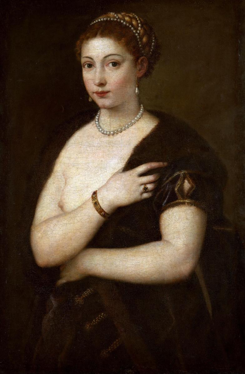 Titian Vecelli. Woman in a fur coat
