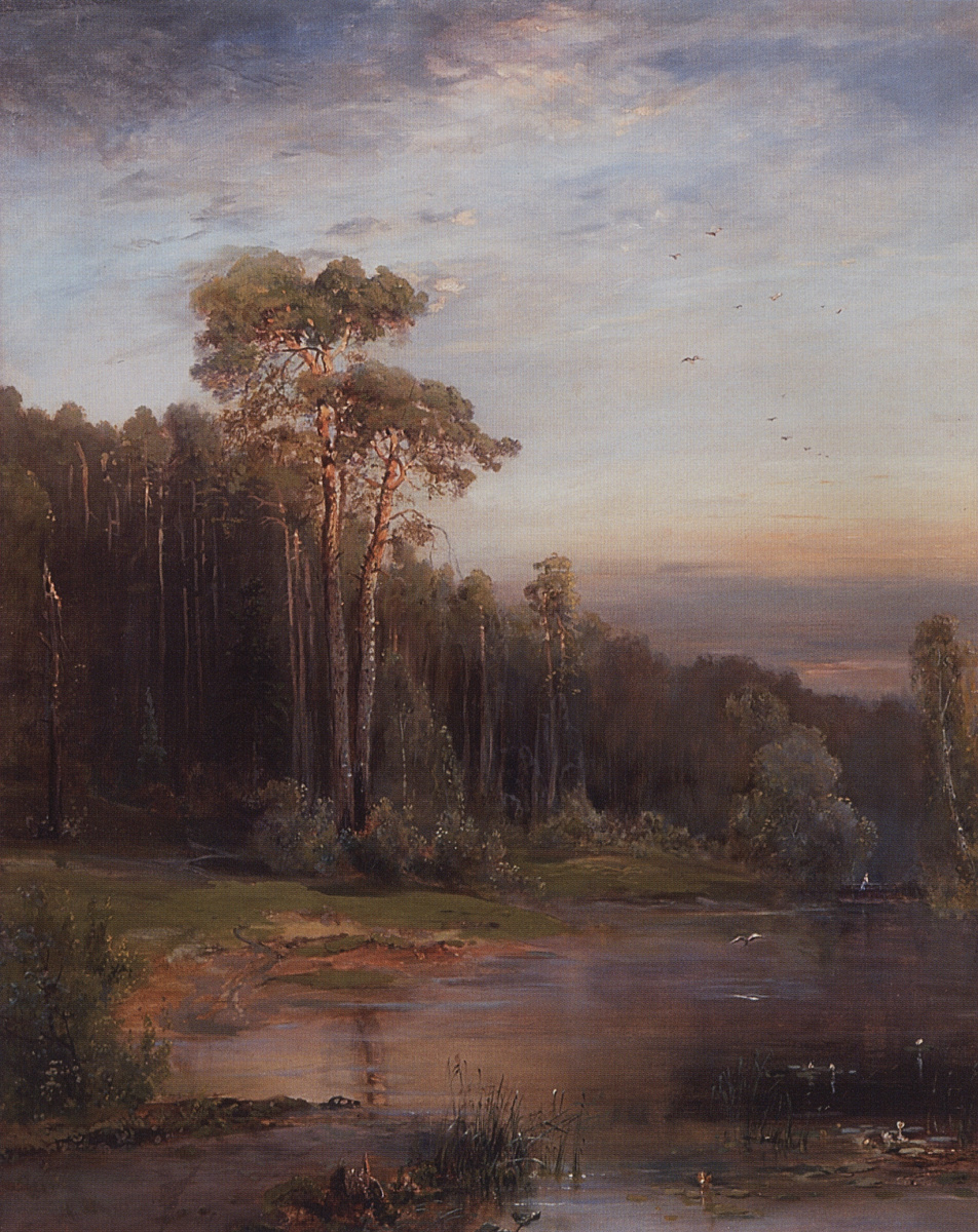 Алексей Кондратьевич Саврасов. Летний пейзаж с соснами у реки