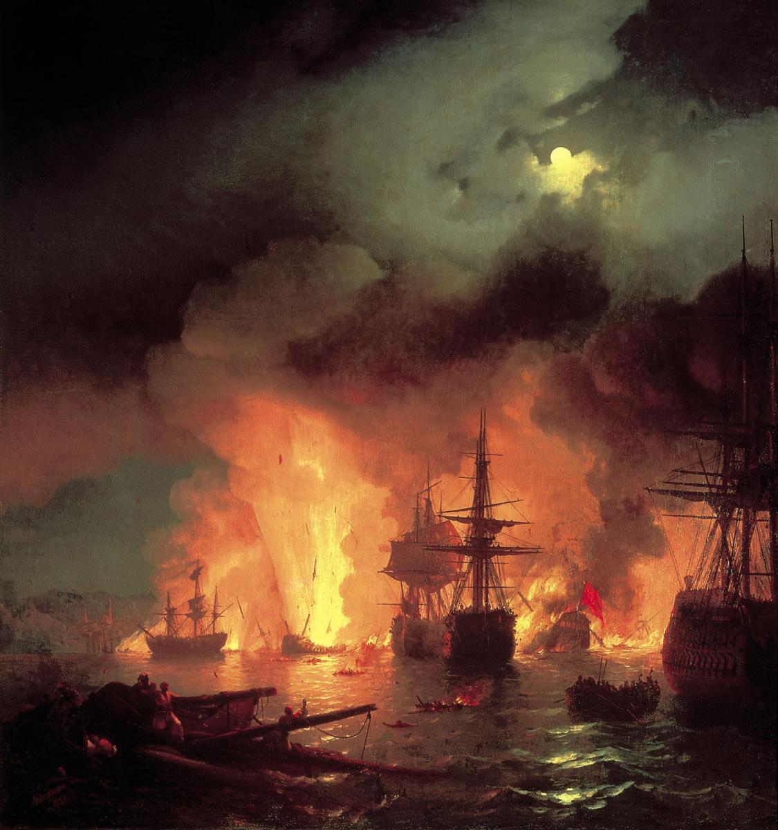 Ivan Constantinovich Aivazovski. Chesme battle in the night from 25 to 26 June 1770