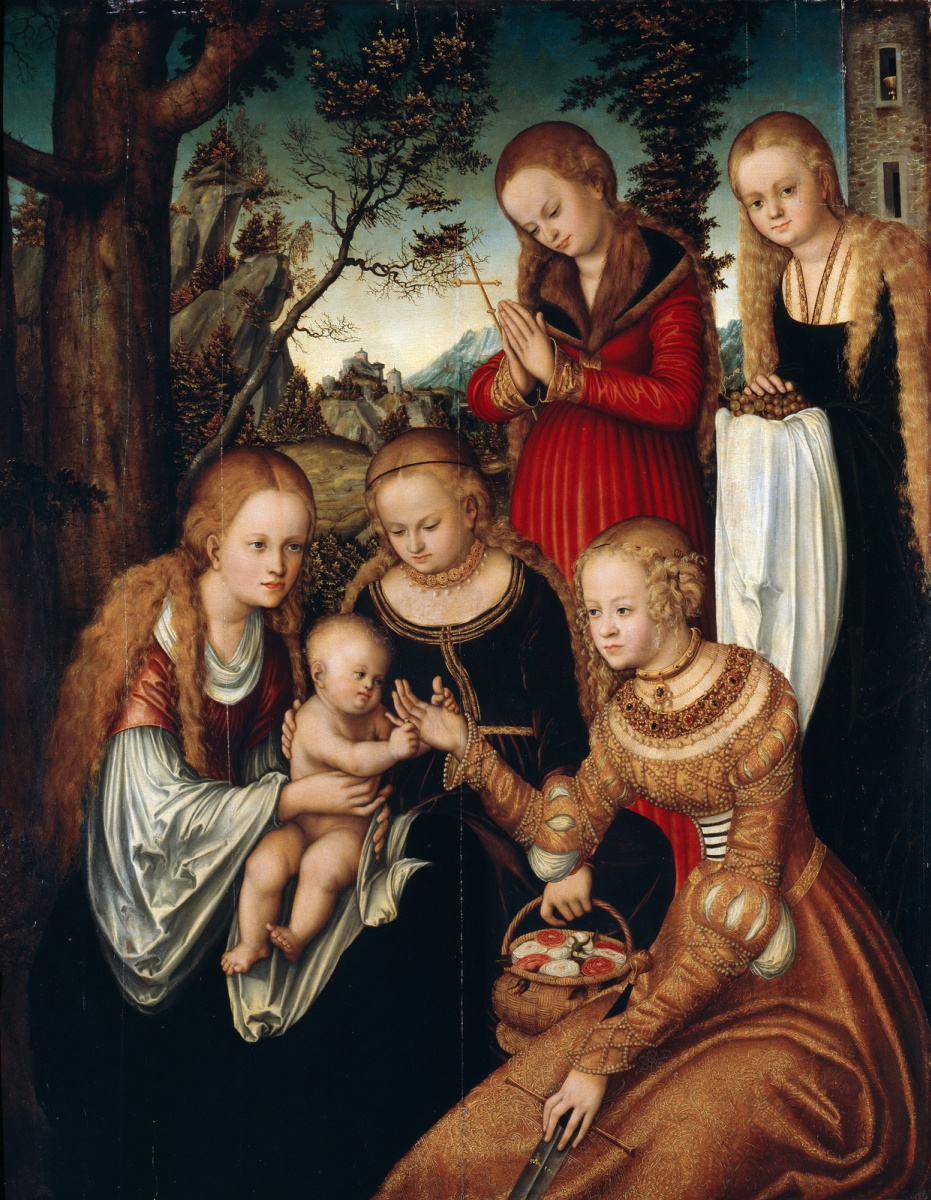 Lucas Cranach the Elder. The mystical betrothal of St. Catherine of Alexandria with saints Dorothy, Margaret and Barbara