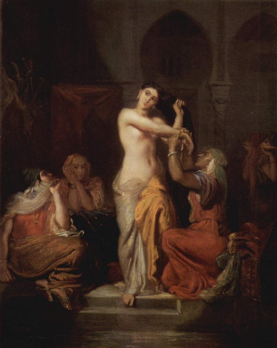 Теодор Шассерио. Гаремная сцена. Купание мавританской дамы