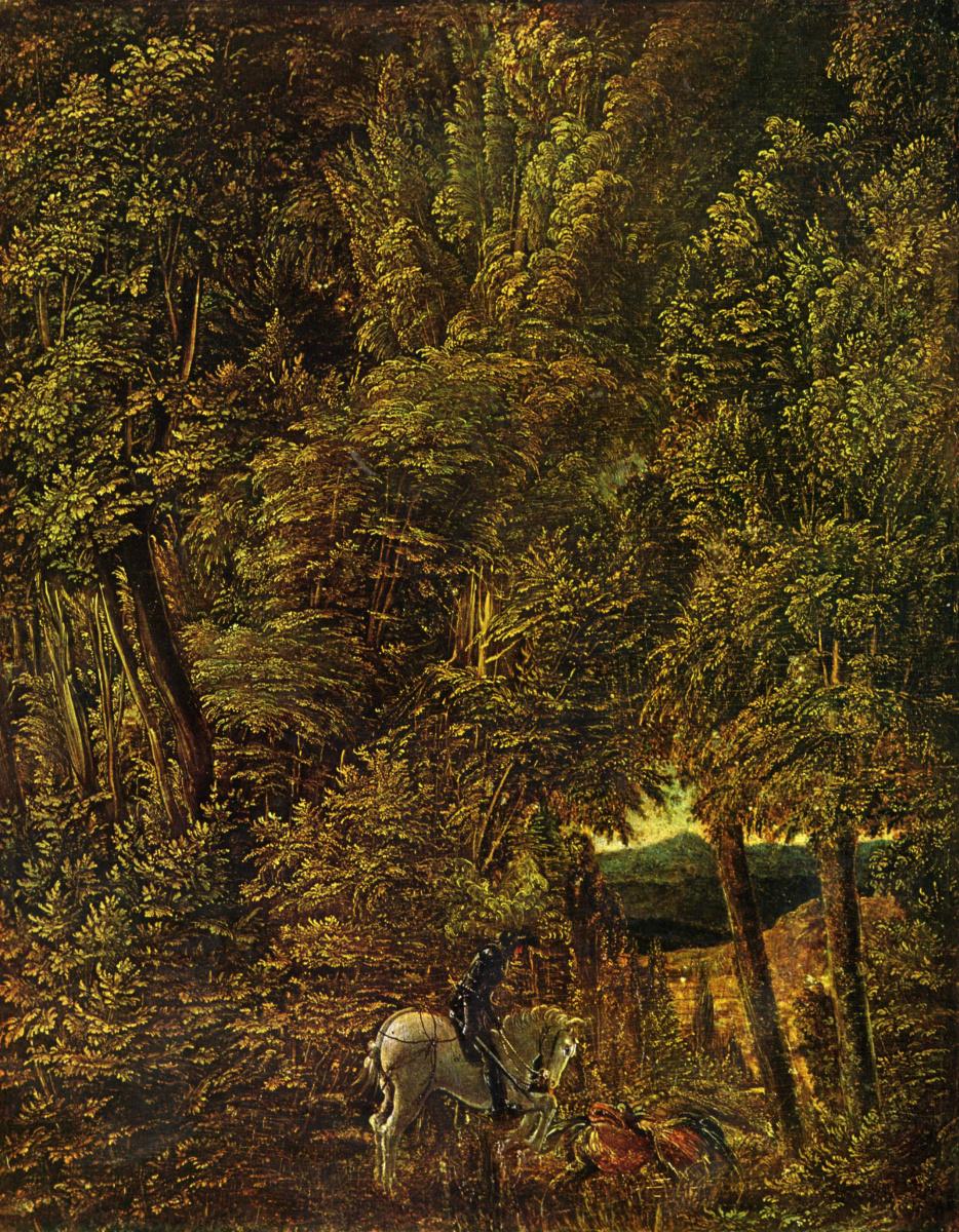 Альбрехт Альтдорфер. Лесной пейзаж с битвой св. Георгия с драконом