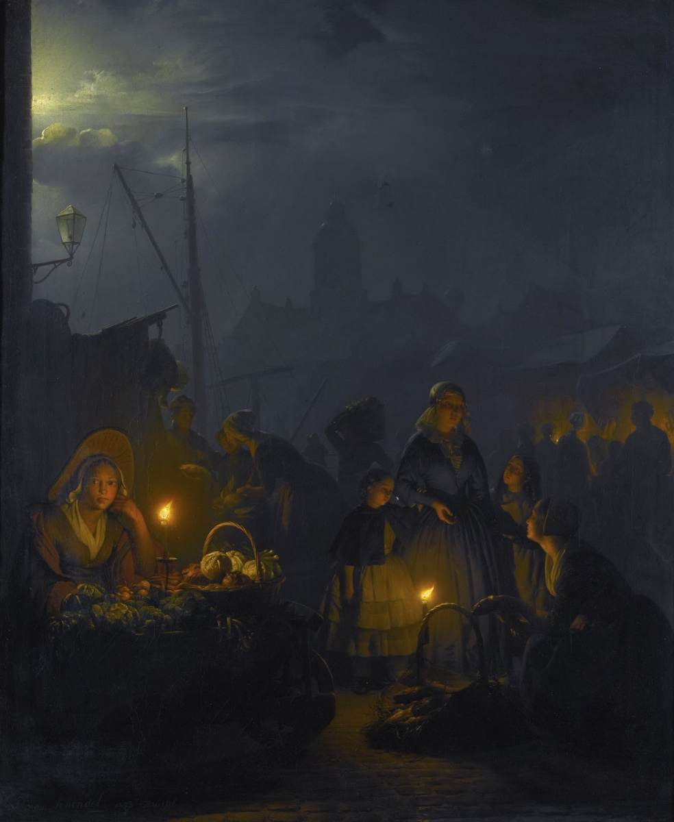 Petrus van Shendel. Dutch market in the moonlight. 1853