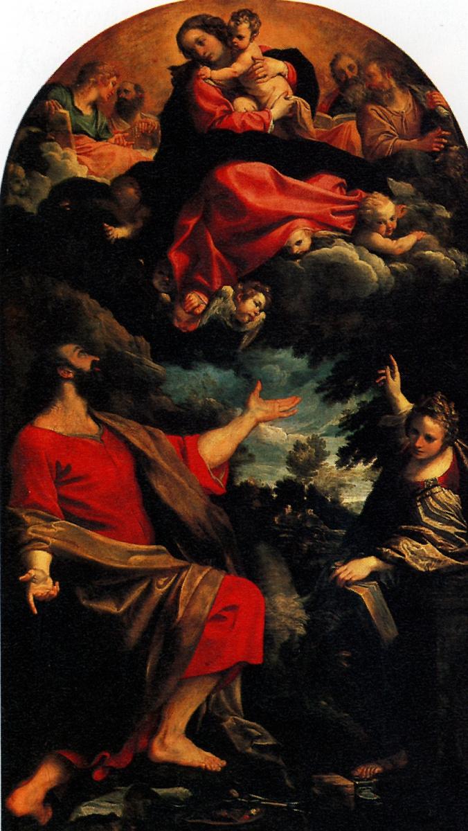 Аннибале Карраччи. Мадонна, являющаяся Святому Луке и  Святой Екатерине