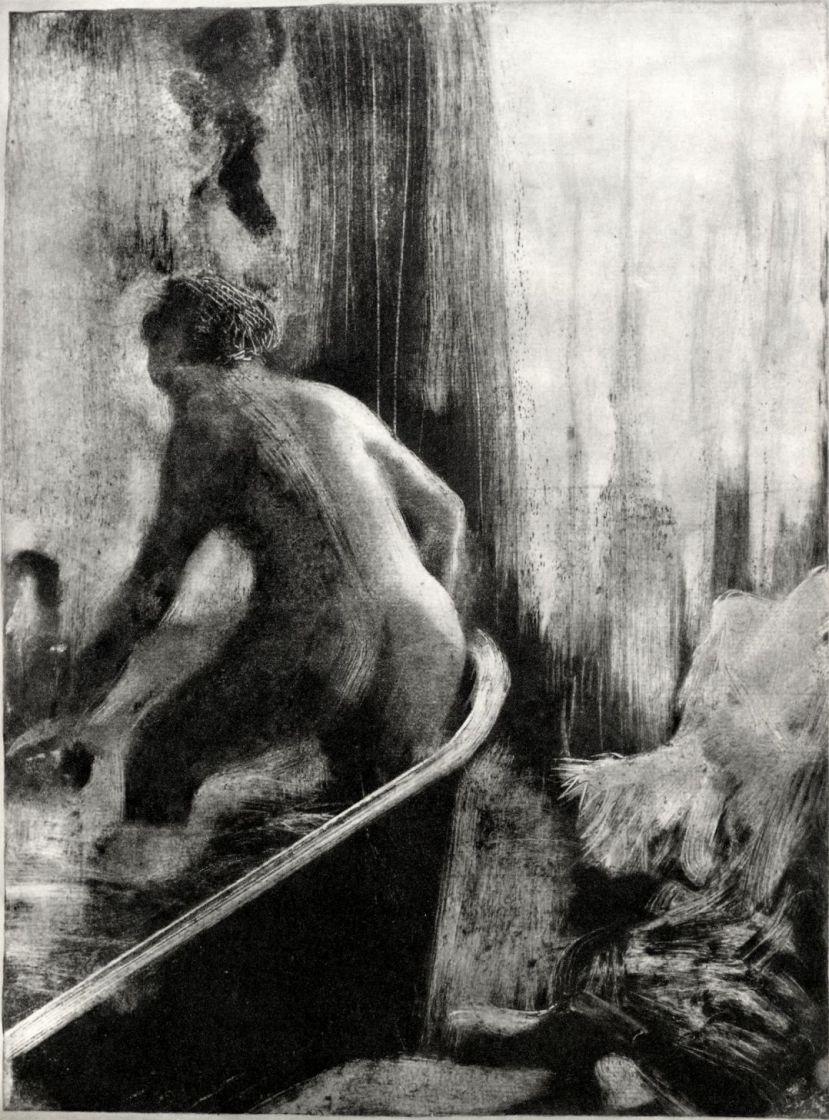 Эдгар Дега. Стоящая в ванне, фигура со спины