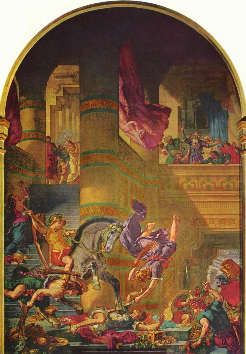 Эжен Делакруа. Церковь св. Сульпиция, капелла св. Ангела, сцена: изгнание Гелиодора из Храма