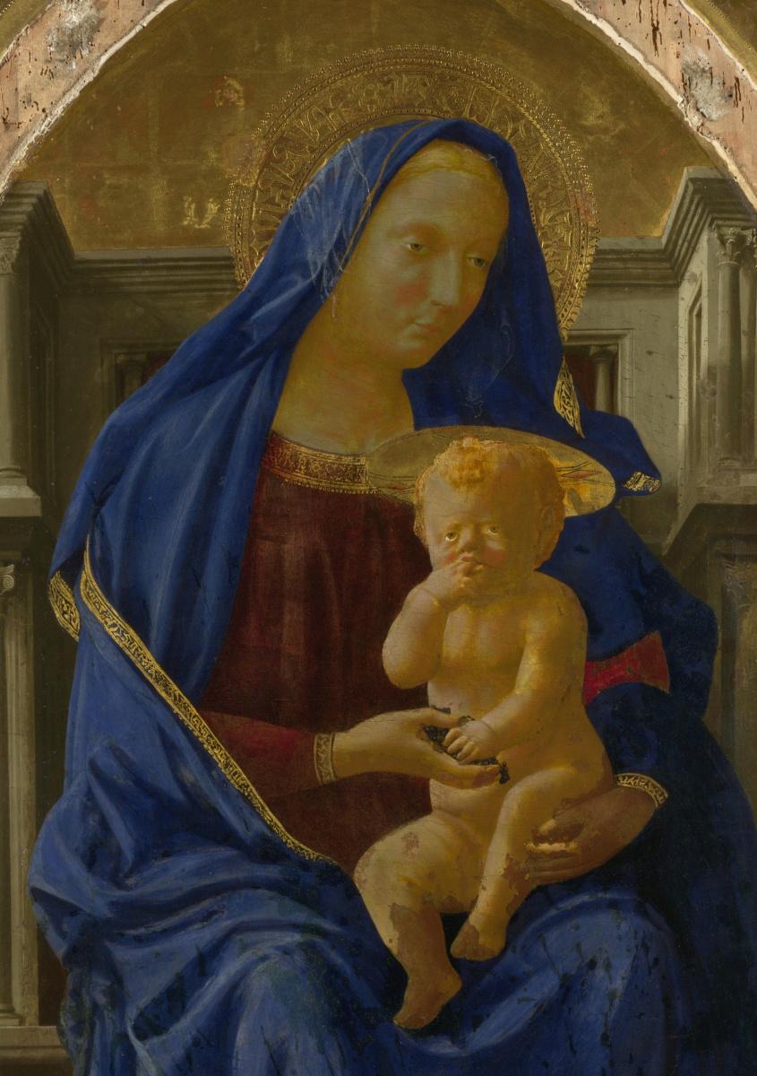 Томмазо Мазаччо. Мадонна с Младенцем и ангелами. Фрагмент полиптиха для церкви Санта Мария дель Кармине в Пизе
